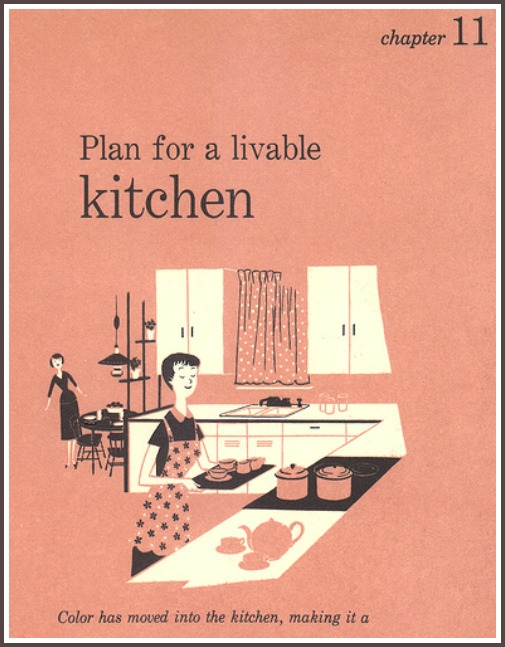 scan of page that says Plan for a Livable Kitchen in vintage decorating book