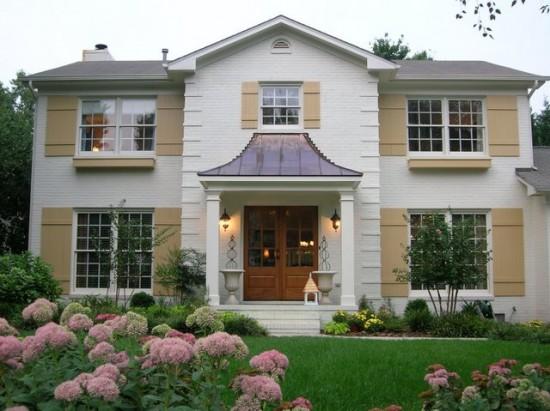 Nester's brick house painted Martha Stewart Bone China