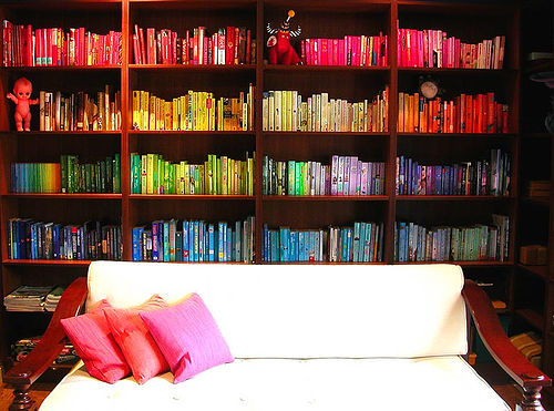 A Rainbow of Books: Organizing by Color