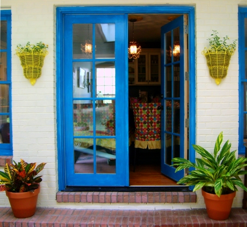 french doors painted bright blue