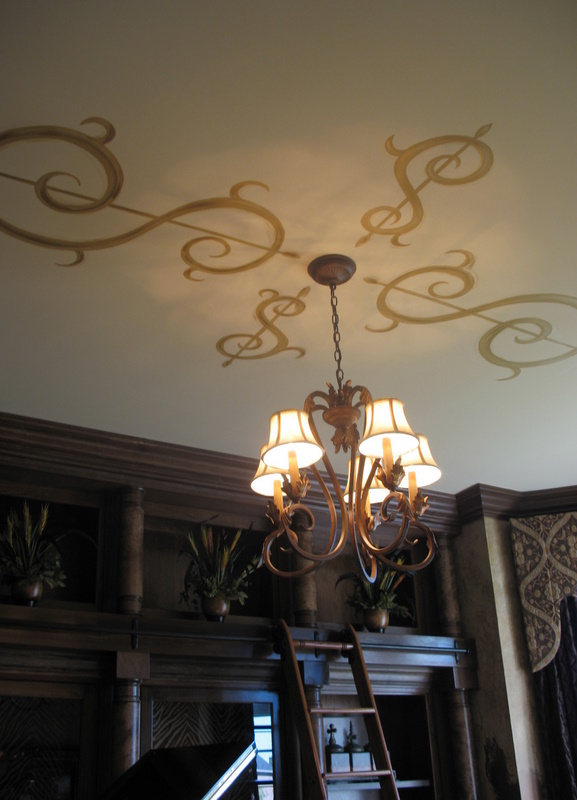 Close-up of the ceiling in the music room.