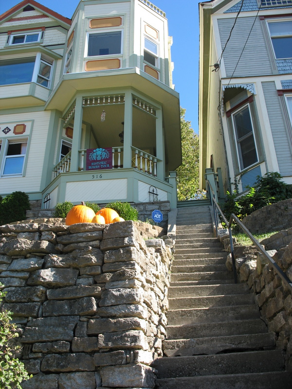 The homes in Columbia Tusculum are perched on top of such steep inclines that you have to climb a lot of steps to reach them!