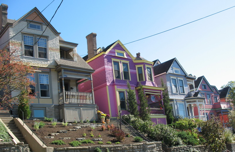 row of painted houses