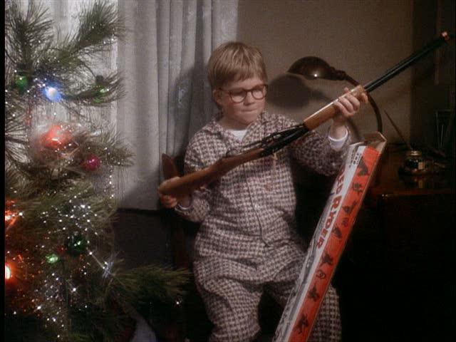 Ralphie opening his Red Ryder b-b gun