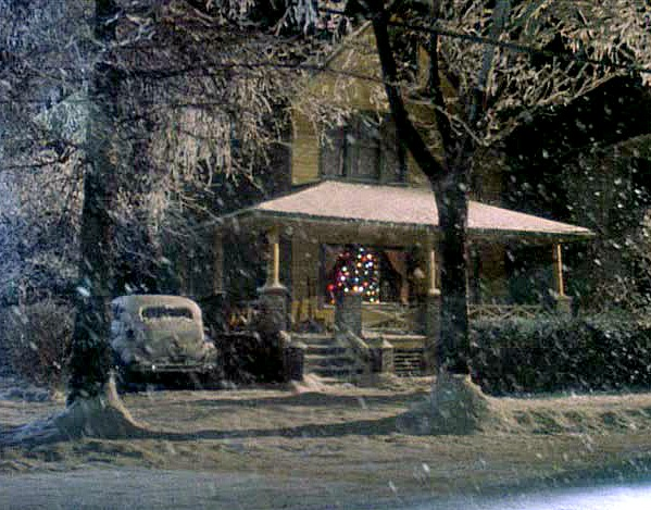 A Christmas Story movie house in the snow