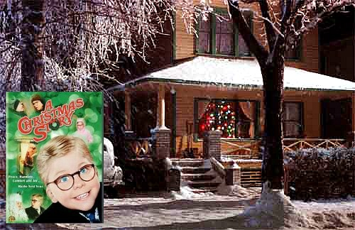 exterior of Ralphie\'s house from A Christmas Story with movie poster inset