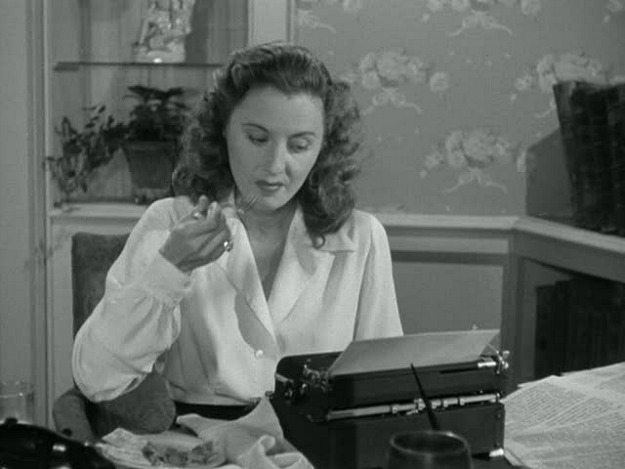 Barbara Stanwyck in Christmas in Connecticut typewriter