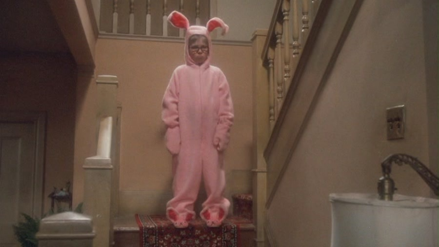 Ralphie in his pink bunny suit A Christmas Story
