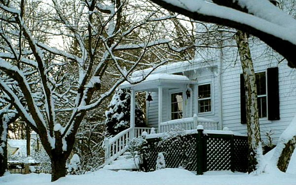 The Family Stone movie house in the snow side door