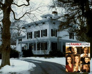 A house covered in snow in The Family Stone movie with poster inset