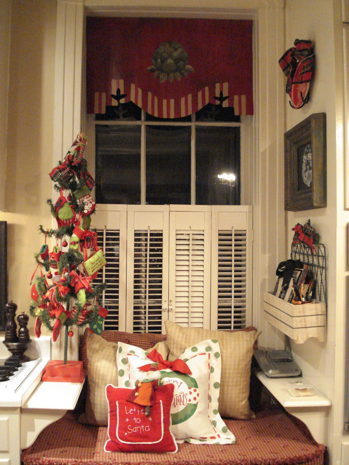 window seat with small christmas tree