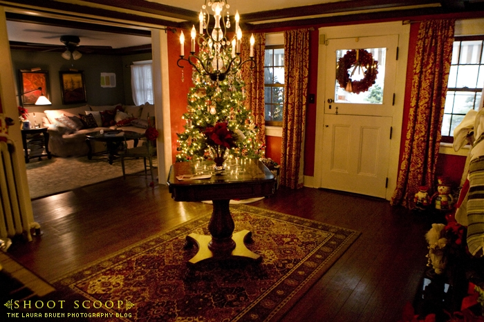 entry hall with Christmas tree