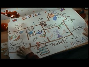 "Kevin's ""Battle Plan"" shows the home's floorplan. Sorta."