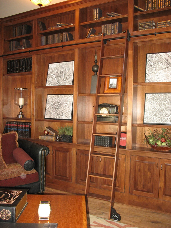 The first-floor study with wood paneling.
