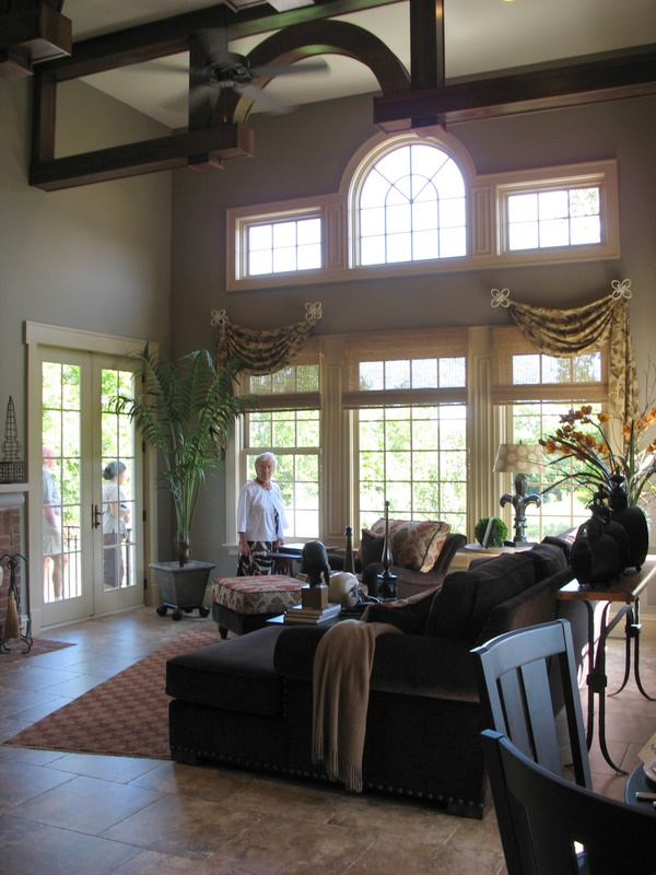 Looking into the family room from the kitchen.