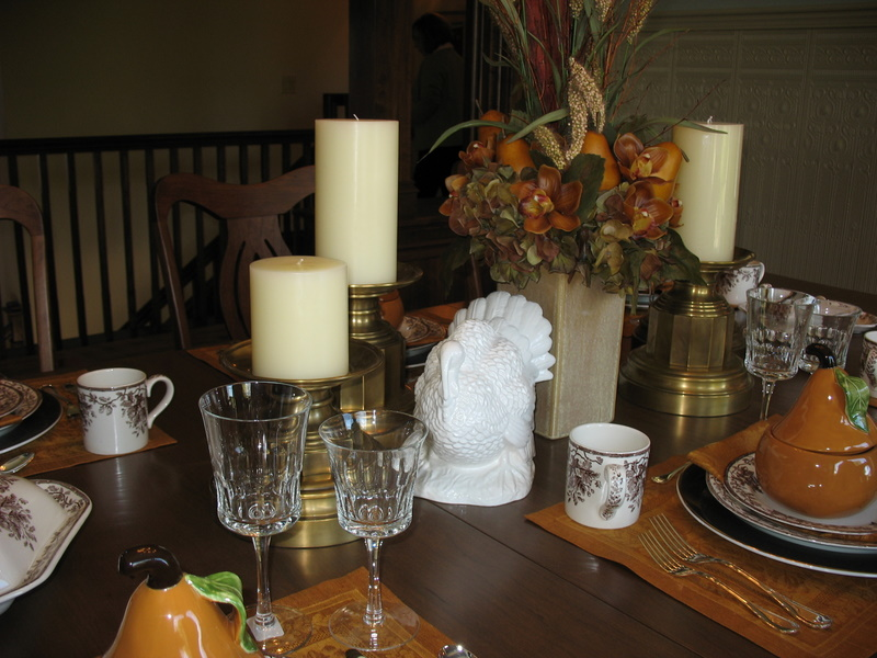 The dining room table was set for fall, when the Home Show took place.