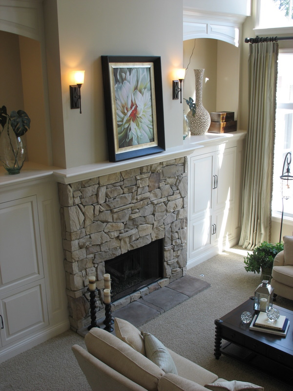 Family room fireplace.