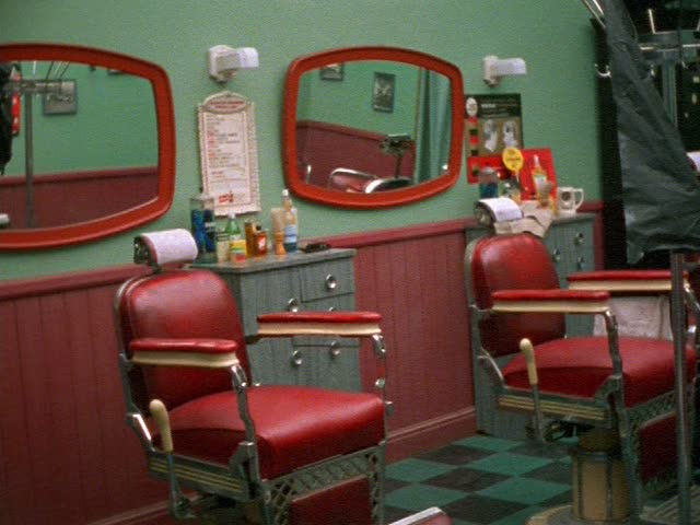 The barber shop set (production photo).