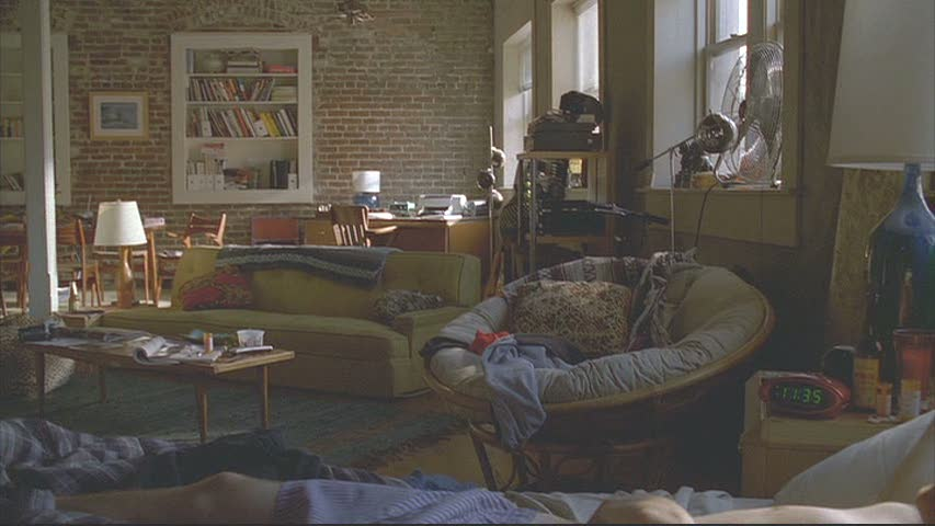 I also like the way they designed Justin's bachelor apartment with the exposed brick walls.