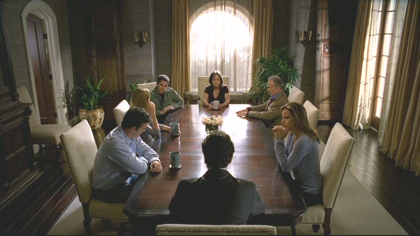The dining room is a frequent gathering place for the Walker family. In this scene, attorney brother Kevin was reading their father's will.