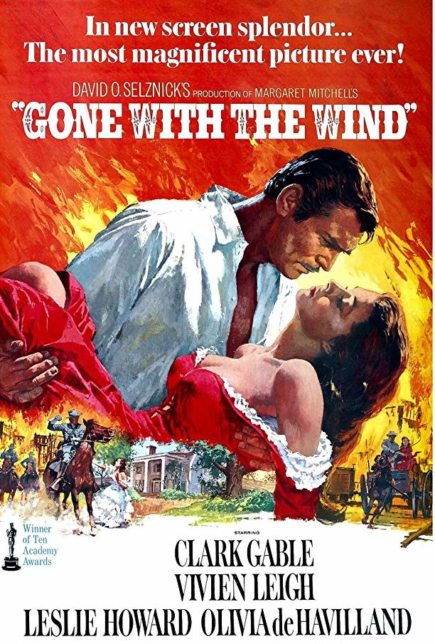 Gone With the Wind movie poster Clark Gable Vivien Leigh 1939