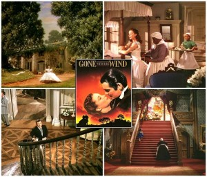 collage of photos from Gone with the Wind and movie poster inset