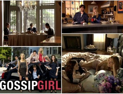 collage of photos from Gossip Girl TV show and cast photo inset