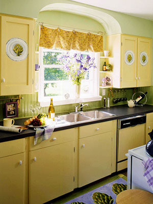 Painted And Stenciled Kitchen Cabinets