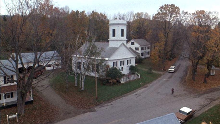 Hadleyville village with white church in Baby Boom
