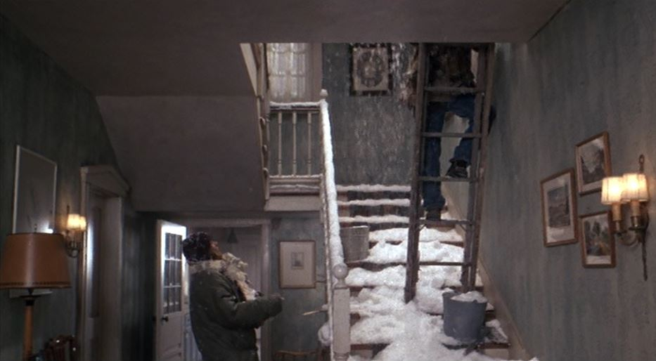 staircase filled with snow Baby Boom movie house