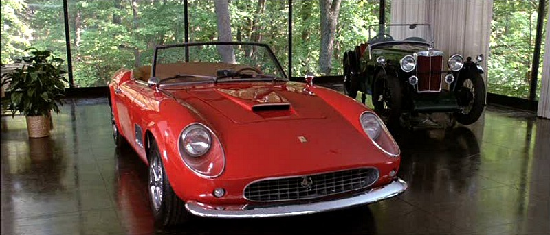 Cameron Frye red Ferrari in garage