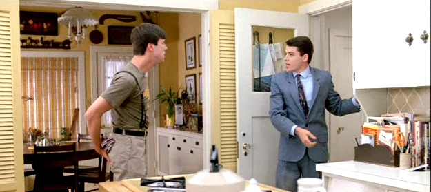 Cameron and Ferris in the yellow kitchen