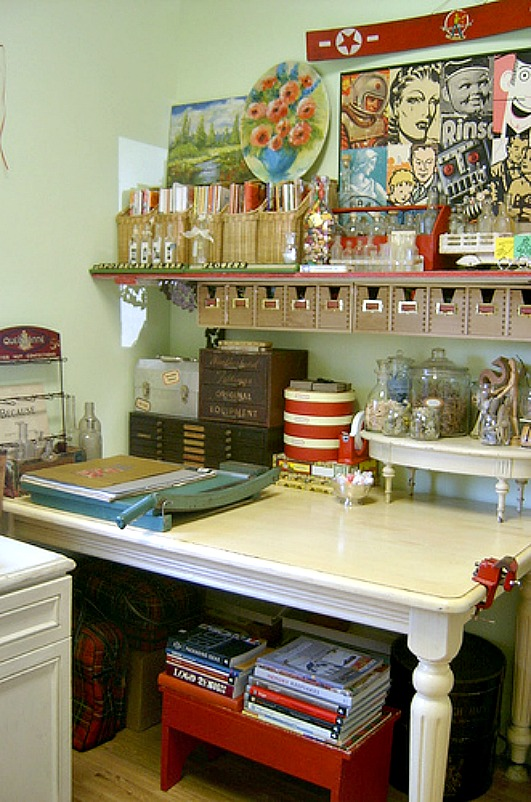 craft table and supplies