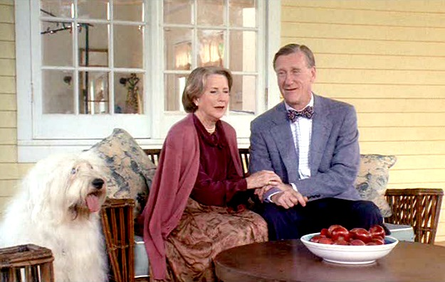 Housesitter-Davis's parents on front porch