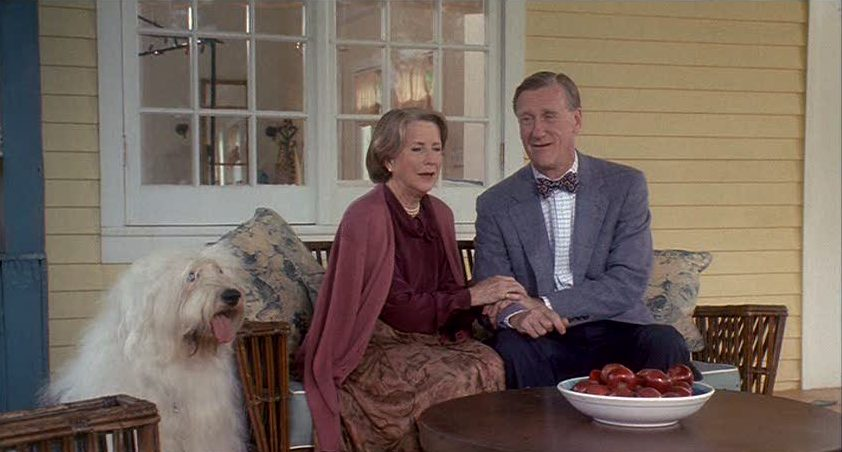 Julie Harris and Donald Moffat sitting on porch of yellow house