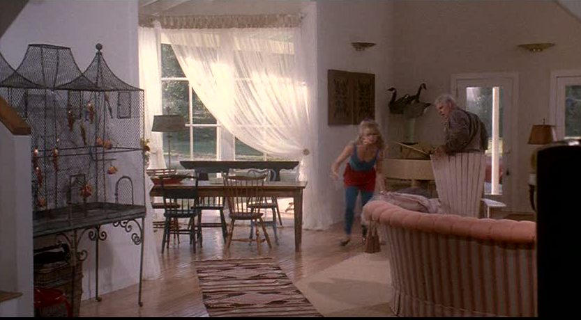 Goldie Hawn and Steve Martin next to dining table and chairs