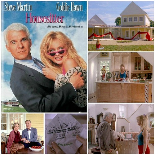 Housesitter movie yellow house Martin Hawn collage