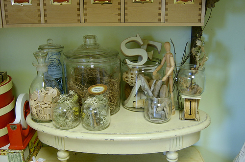 jars filled with crafting supplies