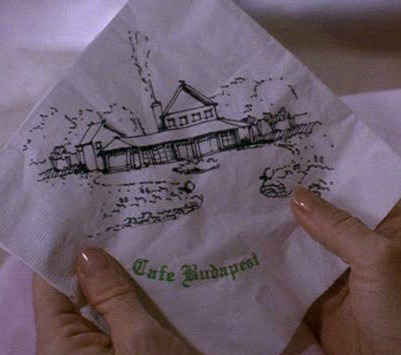 drawing of house on Cafe Budapest napkin