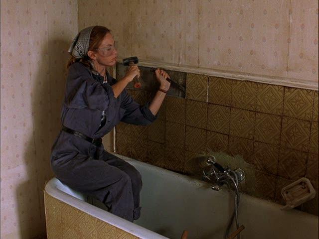 Diane Lane removing bathroom tile