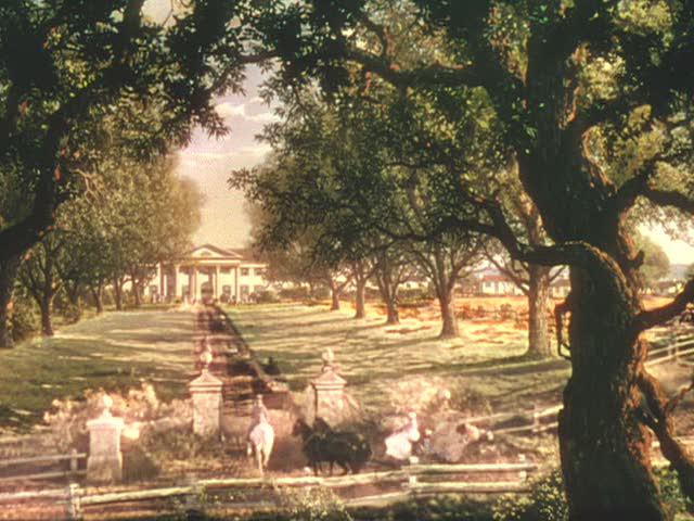 Screenshot of long drive leading to Twelve Oaks in Gone with the Wind movie