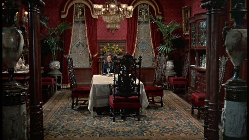 red dining room in Pollyanna movie mansion