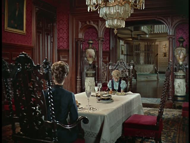 red dining room pollyanna movie set