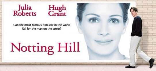 Notting Hill Movie Poster Julia Roberts Hugh Grant feat