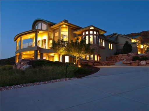 Contemporary house at night