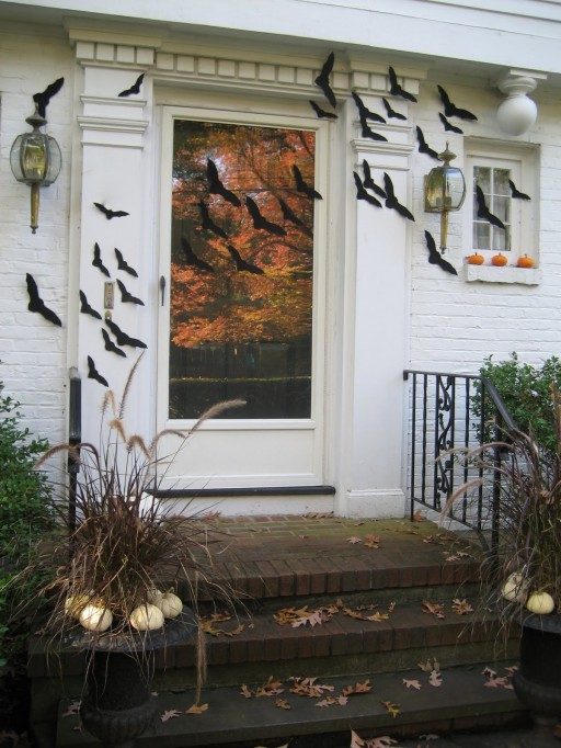 Jamilyn-bats flying across door-Halloween