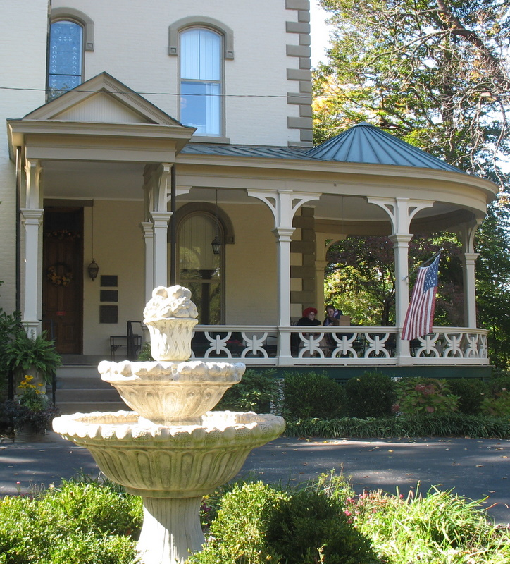 front porch of Promont House with fountain
