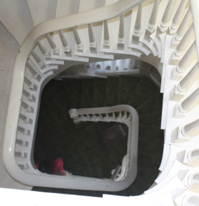 View down staircase