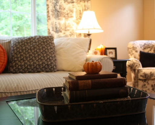 books and pumpkin