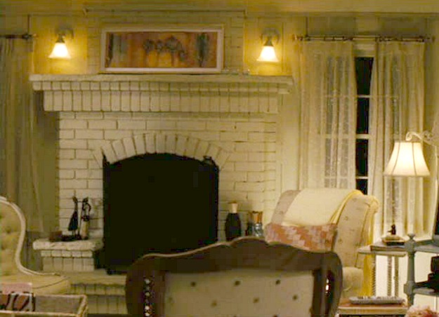 brick fireplace in Isabel's living room Bewitched